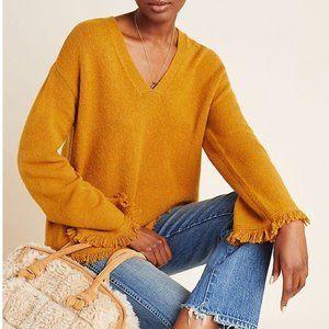 Anthropologie NWT Joy Fringed V-Neck Sweater Maize